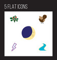 flat icon natural set of half moon lightning vector image vector image