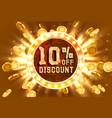 golden frame 10 sale off text banner money vector image
