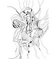 Hand drawn girl dancing belly dance vector image
