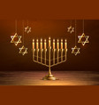 hanukkah jewish holiday menorah david star vector image