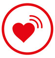 heart radio signal rounded icon vector image vector image