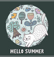 hello summer print with a cute cat vector image vector image