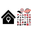 House Location Flat Icon with Bonus vector image