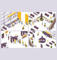 isometric scenes with airport people and objects vector image