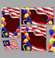 malaysian patriotic festive posters set vector image vector image