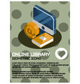 online library isometric poster vector image vector image