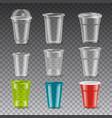 plastic glasses set vector image vector image