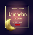ramadan kareem sale with moon background vector image vector image
