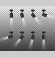 Realistic 3d black spotlights set in