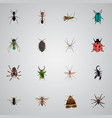 realistic poisonous emmet midge and other vector image