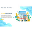 salary calculation website landing page vector image vector image