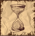 Sand glass clock isolated on vintage background vector image
