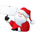 santa claus holding a banner vector image vector image