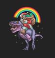 santa claus ride dinosaur grap vector image vector image