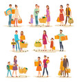 set of isolated people family at supermarket vector image