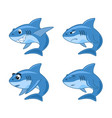 shark comic cartoon set vector image vector image