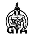 sign a gym with a warrior vector image vector image