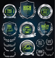 silver sale shields laurel wreaths and badges vector image
