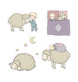 sleeping boy and cute cartoon sheep good night vector image