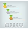 Sports medal and award concept Champions or vector image vector image