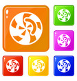 swirl icons set color vector image