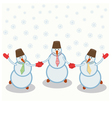 three cheerful snowmen vector image