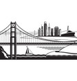 view of san francisco from golden gate bridge vector image
