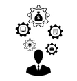 businessman head with cogwheels Brain storming vector image