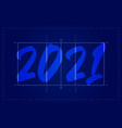 2021 happy new year volleyball field greeting vector image vector image