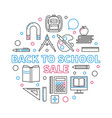 back to school sale outline circular vector image
