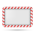 Blank candy cane frame isolated on white vector image