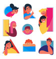 boys and girls doodle set people in various holes vector image vector image