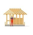 Builder in Helmet and Robe near Constructing House vector image