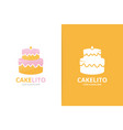 cake logo combination pie symbol or icon vector image