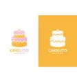 cake logo combination pie symbol or icon vector image vector image