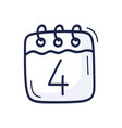 calendar icon with number july 4 vector image vector image