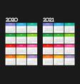 calendar2020 2021 black bg color square vector image
