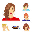 care of hair and face cartoon icons in set vector image vector image