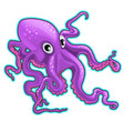 cartoon purple octopus inhabitants of the seas vector image