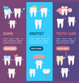 cartoon tooth banner vecrtical set vector image vector image