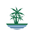 center palm tree beach view design vector image vector image