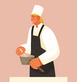 chief-cooker young man at work chef in black vector image vector image
