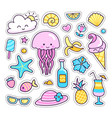 collection of summer stickers patches badges vector image