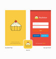 company cake splash screen and login page design vector image vector image