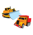 construction machines bulldozer and dumper vector image