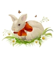 Cute rabbit with bow sitting on grass Easter vector image vector image