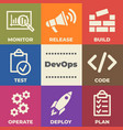 devops concept with icons and signs vector image vector image