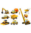 different types of construction trucks vector image vector image