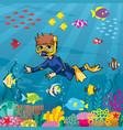 diver boy undersea vector image vector image