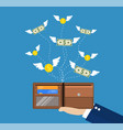 dollars and coins with wings flying vector image